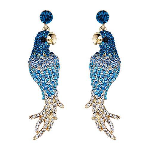 EVER FAITH Women's Austrian Crystal Art Deco Parrot Pet Bird Pierced Dangle Earrings Blue Gold-Tone ()