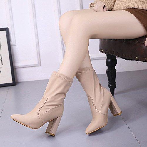 Cortos MYQyiyi de Botas Zapatos por de 37 Tubo Beige de Moda Cortas Mujer Tacones CwItSPRq