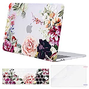 MOSISO MacBook Pro 13 Inch Case 2019 2018 2017 2016 A2159 A1989 A1706 A1708 w/ & w/o Touch Bar,Plastic Pattern Hard Case&Keyboard Cover&Screen Protector Compatible with Mac Pro 13,Rose Leaves
