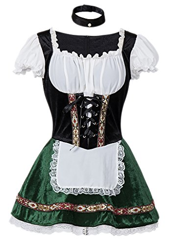 Tavern Maid Adult Costumes - Alivila.Y Fashion Womens Oktoberfest Germany Bavarian Halloween Costume 31644-Green-XL