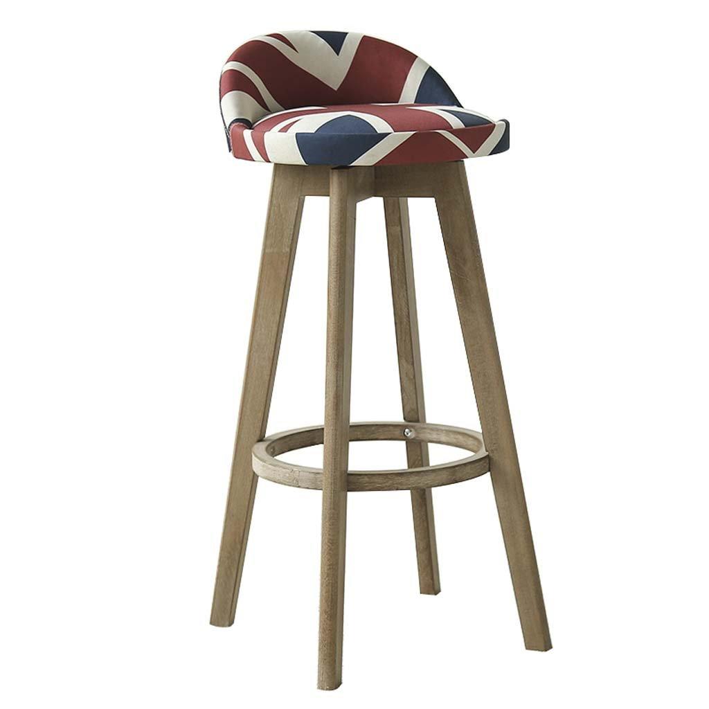 B Bar Stool - Solid Wood Backrest Chair Linen Material High Elastic Sponge Cushion, Restaurant & Bar Cafe, Simple Retro Stool (color   C)
