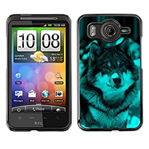 TopCaseStore / la caja del caucho duro de la cubierta de protección de la piel - Cute Wolf Dog Winter Snow - HTC G10