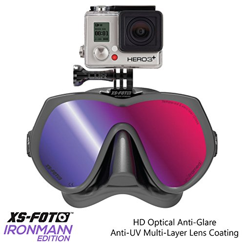 Diving Mask for GoPro Cameras Black Silicone UV Ray Blocking Tint - Real Frameless - Built-in Stainless Steel Camera Mount - Two Mask Straps & High Torque Mounting Screw - GoMask Ironmann by XS Foto (MA610RM) by XS Foto