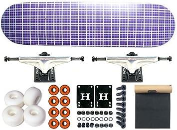 MOOSE PLAID Purple Skateboard COMPLETO Skateboard 7.5