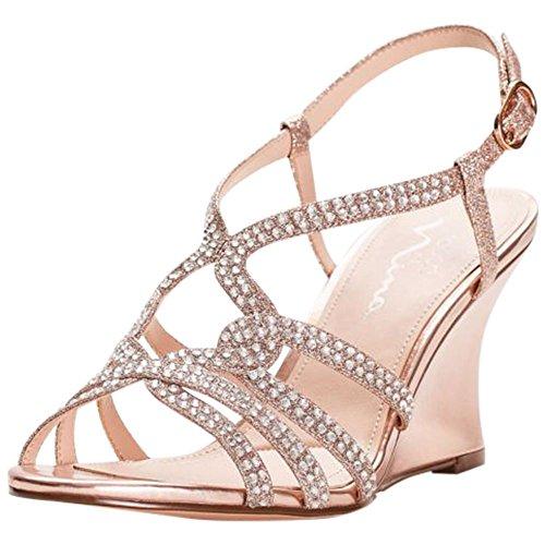 Embellished Strappy Wedge Sandals Style VIANNE, Rose Gold, (Embellished Rose)