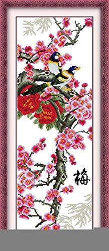 LovetheFamily クロスステッチキット DIY 手作り刺繍キット 正確な図柄印刷クロスステッチ 家庭刺繍装飾品 11CT ( インチ当たり11個の小さな格子)中程度の格子 刺しゅうキット フレームがない - 37×91 cm 梅の花