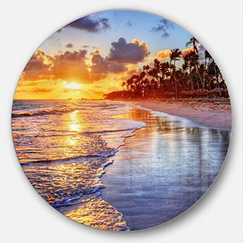 Palm Tree Resort - Designart Beach-Side Resort with Palm Trees Seashore Art Metal Artwork - Disc of 38, 38x38-Disc of 38 inch, Yellow