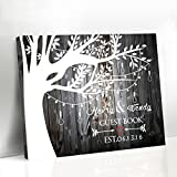 Larmai Guestbook Sign Wedding Canvas Tree Wedding Guestbook Framed Wall Art Wedding Anniversary Gifts