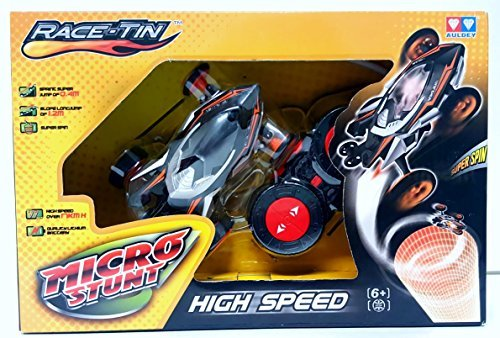 Auley Race-Tin Micro Stunt High Speed 17KMH Radio Control Car 1:32 Scale Slope Long Jump, Super Spin & Jump of 0.4m Black & Gray