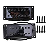 Yibuy 52mm/55mm Black 7 String Electric Guitar Bridge & Neck Humbucker Pickups Set of 2