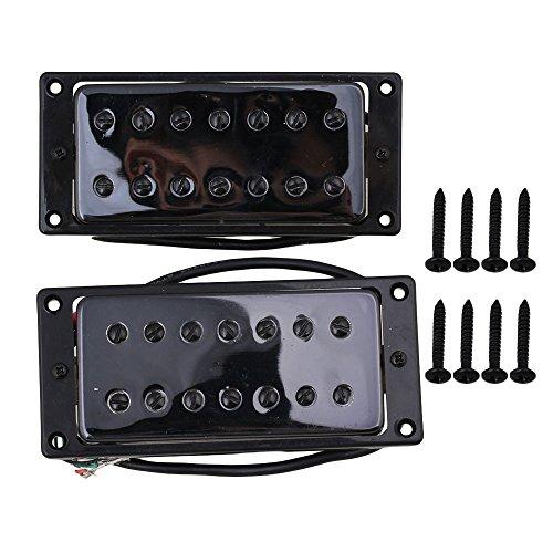 Yibuy 52mm/55mm Black 7 String Electric Guitar Bridge & Neck Humbucker Pickups Set of 2