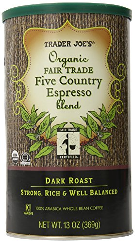 TRADER JOES Methodical Fair Trade Five Country Espresso Blend 100% Arabica Roasted Whole Bean Coffee, 13 Ounce