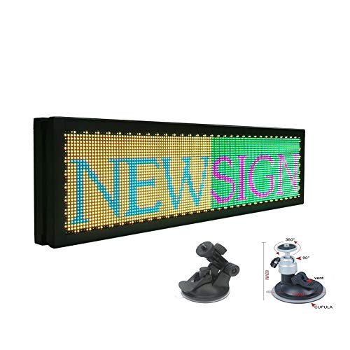 P4 LED Car Display 12V -36V Sign Led Car Rear Window Message Board 21x6 inch RGB Full Color Indoor LED Sign Support Scrolling Text Image LED Advertising Screen Display programmable led Sign