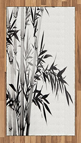 Ambesonne Bamboo Area Rug, Bamboo Tree Image Traditional Chinese Calligraphy Style Asian Culture Theme, Flat Woven Accent Rug for Living Room Bedroom Dining Room, 2.6 x 5 FT, Charcoal Grey ()