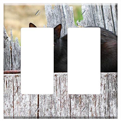 Switch Plate Double Rocker/GFCI - Cat Black Animal Feline Pet Mammal -