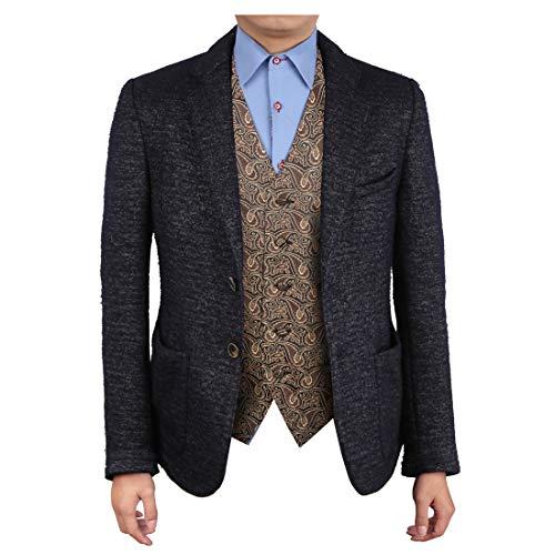 Waistcoats Designer - Epoint EGC1B08A-2XL Brown Black Patterned Cooling Designer Waistcoat Woven Microfiber Vest For Business XX-Large Vest