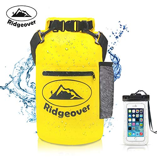 Ridgeover Waterproof Dry Bag 500D 20L - Dry Bag With Waterproof Case, Exterior Zip Pocket and Shoulder Strap - Waterproof Backpack Keeps Gear Dry for Kayaking, Beach, Rafting, Boating, Hiking, Camping by Ridgeover