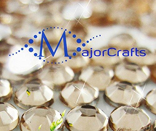 MajorCrafts 30pcs 10mm ss46 Champagne Flat Back Round Acrylic Rhinestones, Diamante Strass Beads #34