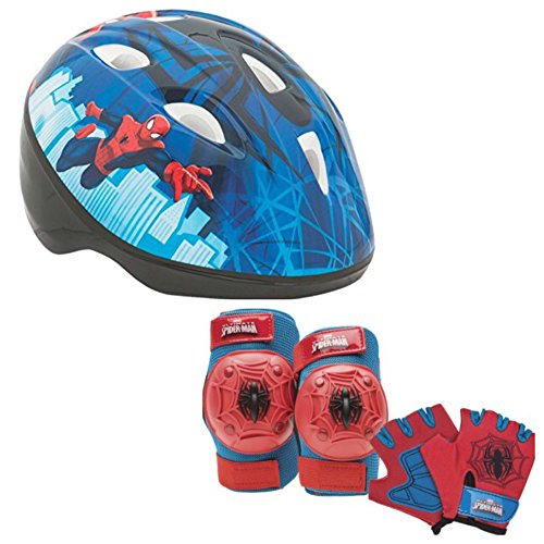 Spider Man Child Helmet (Marvel Spiderman Kids Toddler Skate / Bike Helmet Pads & Gloves - 7 Piece Set)