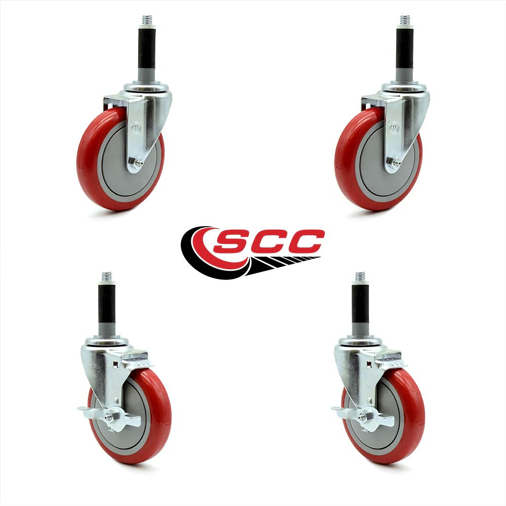 Service Caster - 5'' x 1.25'' Red Polyurethane Wheels Caster Set of 4-2 Swivel Casters w/Brake w/7/8'' Expanding Stem/2 Swivel by Service Caster