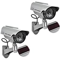 (2 Pack) Dummy Security Camera, Fake Bullet CCTV Surveillance System With Realistic Look Recording LEDs + Bonus Warning Sticker - Indoor/Outdoor Use, For Homes & Business