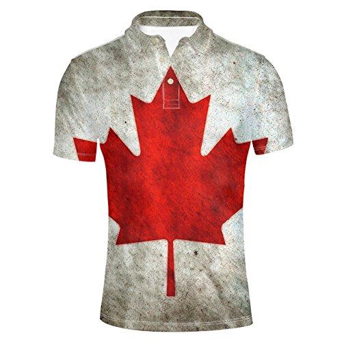 Showudesigns Men's Canadian Flag Hawaiian Shirt Short Sleeve Stretch Beach Party Polos T Shirts