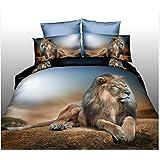 Peinture à l'huile de luxe 3d Lion Drap housse de couette Taie d'oreiller Parure de lit 4pièces Queen Size
