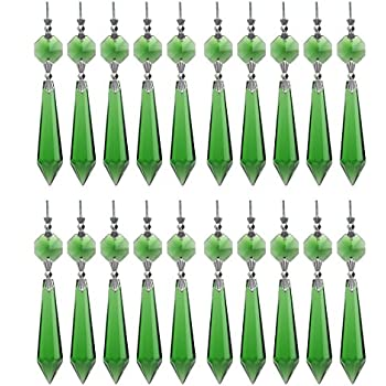 H/&D 25Pcs Shining 55mm Icicle Crystal with One 14mm Octagon Beads Prism Decorative Charm
