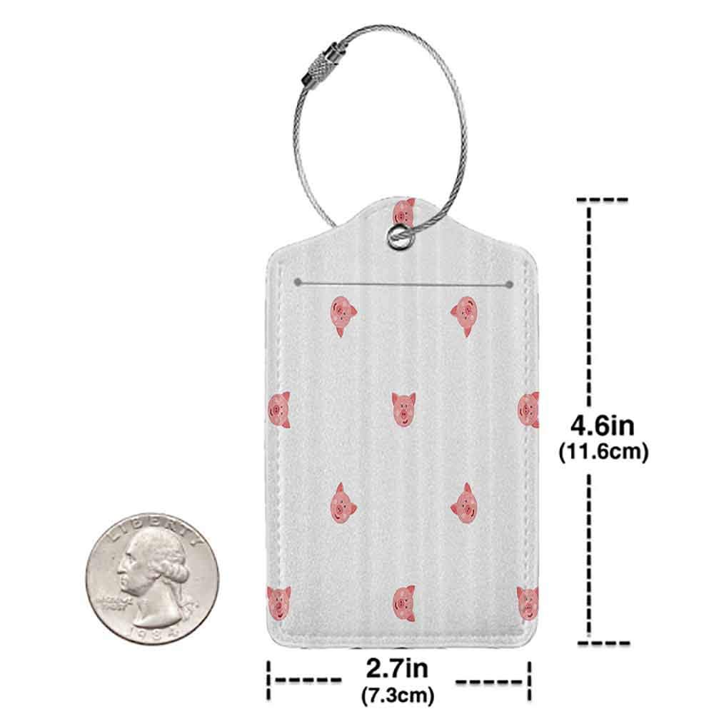 Modern luggage tag Pig Decor Collection Pigs Cartoon Happy Hayfield Homestead Nature Happiness Symmetrical Design Suitable for children and adults Salmon White W2.7 x L4.6