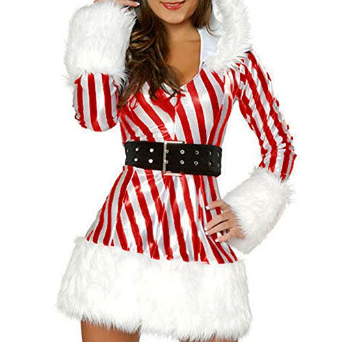 [Kalin L Sexy Miss Candy Cane Costume for Women] (Candy Woman Costumes)