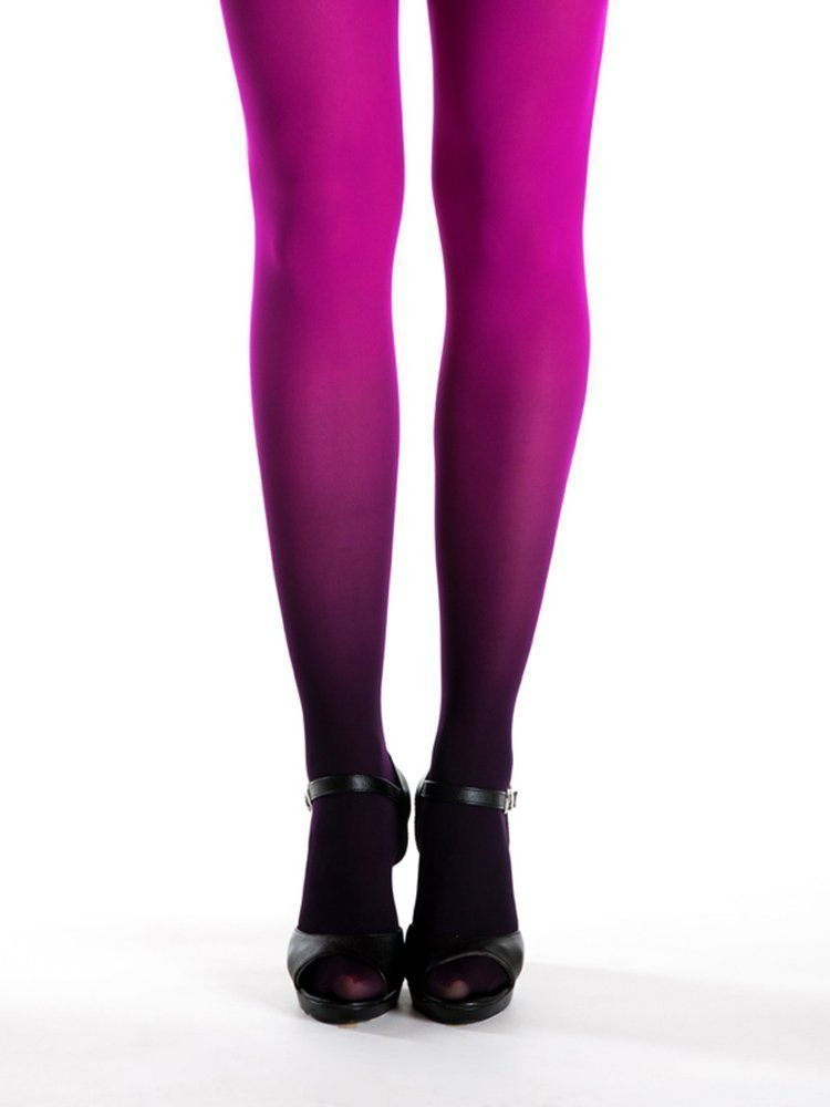 Black - Magenta Ombre Tights - Magenta Tights - Superb Quality Opaque Pantyhose - Gift for Girlfriend Anniversary