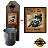 """When Life Throws You A Curve"" Bottle Opener and Cap Catcher – Handcrafted by a Vet – 100% Solid Pine 3/4″ Thick – Rustic Cast Iron Bottle Opener and Sturdy Mini Galvanized Bucket – Great Biker Gift!"