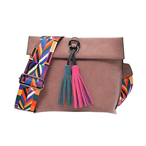 Women Girls Tassels Leather Bag Shopping Handbag Shoulder Tote Bag Messenger Crossbody Boho Bag (Pink) Weekender Cross Body