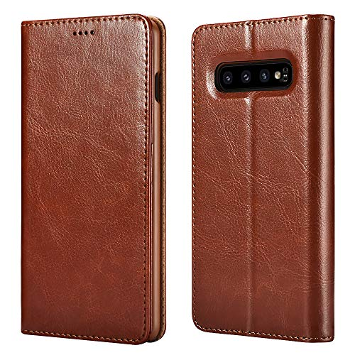 Samsung S10 Plus Case (2019), Galaxy S10 Plus Leather case ICARERCASE Premium PU Leather Folio Flip Cover with Kickstand and Credit Slots for S10+ Wallet Case 6.4 inch(Brown) ()