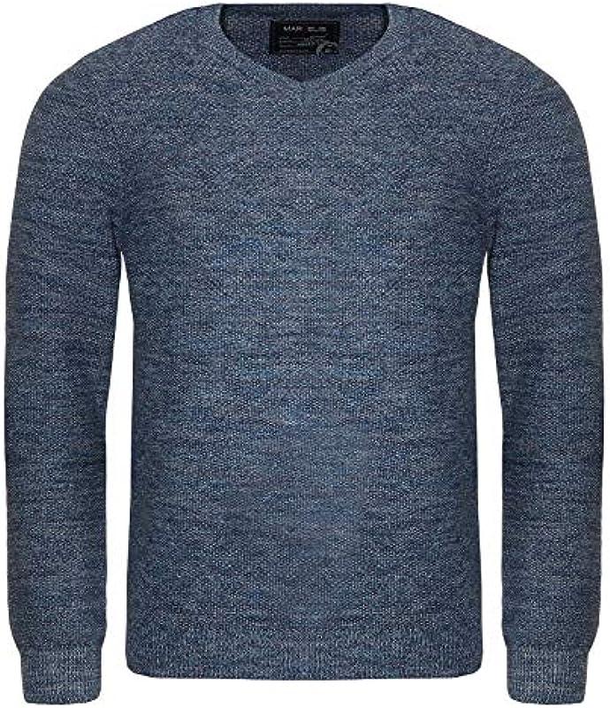 Marvelis męski sweter z dzianiny z dekoltem w serek: Odzież