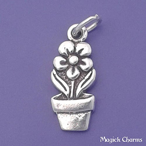 Sterling Silver FLOWER In POT Potted Plant Charm Pendant - lp2543 Jewelry Making Supply Pendant Bracelet DIY Crafting by Wholesale (Potted Sword)