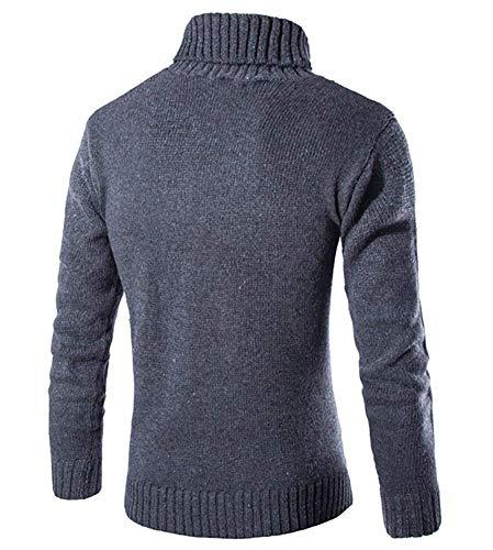 Punto Dunkelgrau Y Largo Modernas Cuello Para Jersey Elegante Hombres Jumper De Alto Suéter Top RwxqBAEO