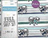 english bulldog bed - #Bedtime English Bulldogs and Bowties Stripe Full 4 Piece Full Sheet Set