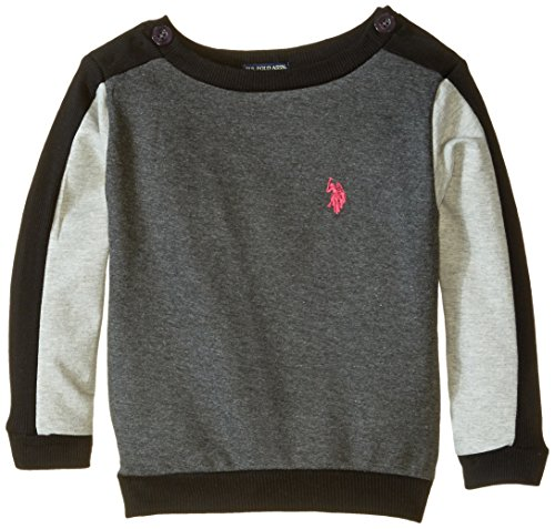 U.S. POLO ASSN. Little Girls' French Terry Pullover, Heather Charcoal, 4