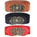 Womtop Women Belts 3 Packs Vintage Wide Elastic Stretch Waist Belt Retro Cinch Belt (T(Black+Red+Camel), Free)