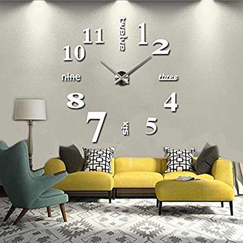 Elikeable Modern 3D Frameless Large 3D DIY Wall Clock Watches Hours DIY Decorations Home for Living Room Bedroom (silver) (Long Silver Mirrors)