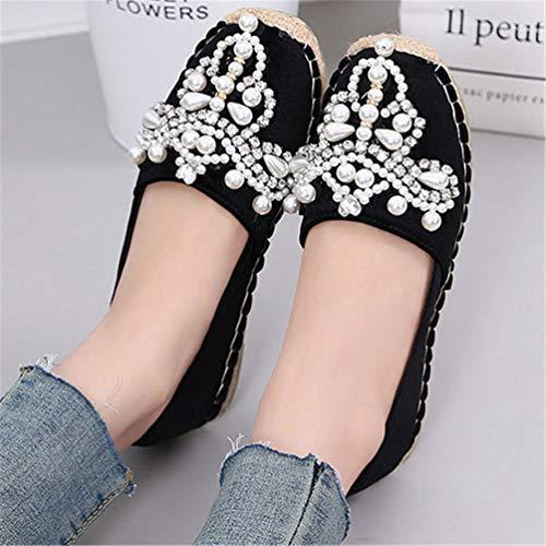 Occasionnel Or Noir Plates Mocassins Perle Diamant Dames En Espadrilles Pêcheur Toile Ficelle Ronde Shampooing Velours Chaussures 54ARjL