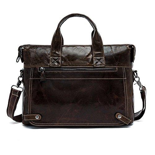 idjnxjslok Aktentasche Herren Leder Handtaschen aus echtem Leder Laptop Crossbody Taschen für herren Messenger Schultertasche Business Schwarz Coffee