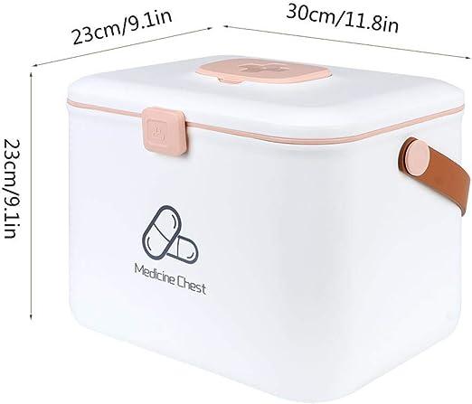 Blanco Fditt Kit de Caja de Primeros Auxilios Familiar Multifuncional Caja de Medicina port/átil de 2 Capas Botiquines con Compartimentos a Prueba de ni/ños