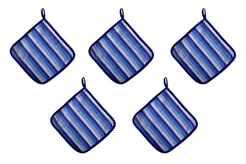 Looms & Weaves Kitchen Pot Holder For Cooking And Baking 8 Inch X 8 Inch Blue With Striped by Looms & Weaves
