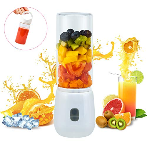 Portable Personal Blender, PENGWING USB Rechargeable Glass Cup Juicer Travel Outdoor Office, 2 450ML Cup Blenders for Shakes and Smoothies (The Best Juicer Blender)