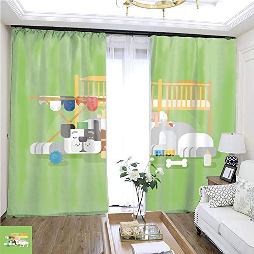 (Curtain lace Dog and Baby sleep1 W96 x L72 Sliding Door Insulation Super Wide Curtain Highprecision Curtains for bedrooms Living Rooms Kitchens etc.)