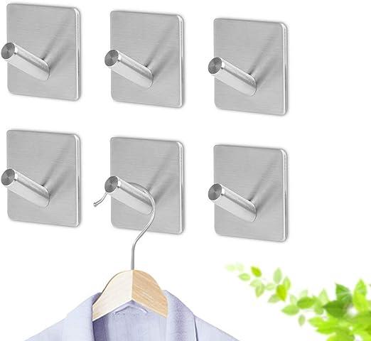 Wall Mounted 6 Hooks Sticker Bathroom Kitchen Washcloth Hanger Holder Gray