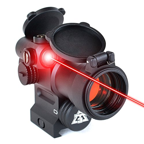 Crossbow Sight (AT3 LEOS Red Dot Sight with Integrated Laser & Riser - 2 MOA Red Dot Scope with Flip Up Lens Caps)