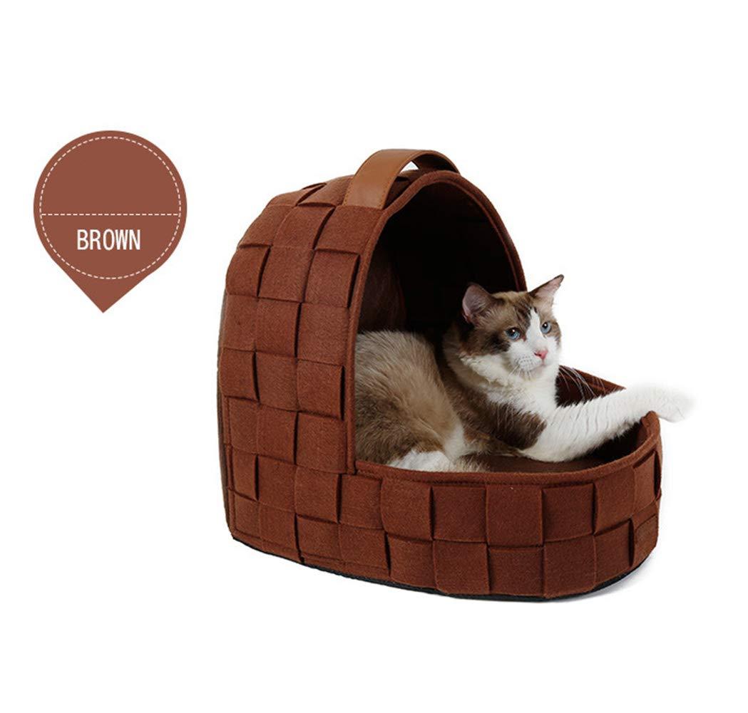 Brown Pet Kennel Hand-Woven Garden Cat Bed Pet Kennel Warm Winter Washable Pet Mattress Kennel Kennel Kennel Dog House Foldable Cat Bed,Brown